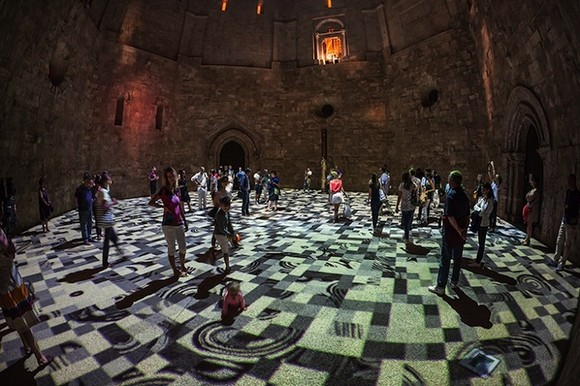 a kaleidoscope of colors  13th century castle courtyard lightened up with psychedelic lights Psychedelic lights modern artists contemporary art black and white