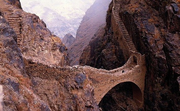 Art works that survived the passage of the years, traveling around the world, old bridges, art works, scenes of nature, Art Space, Basel Shows  Art works that survived the passage of the years Shahara Bridge Yemen